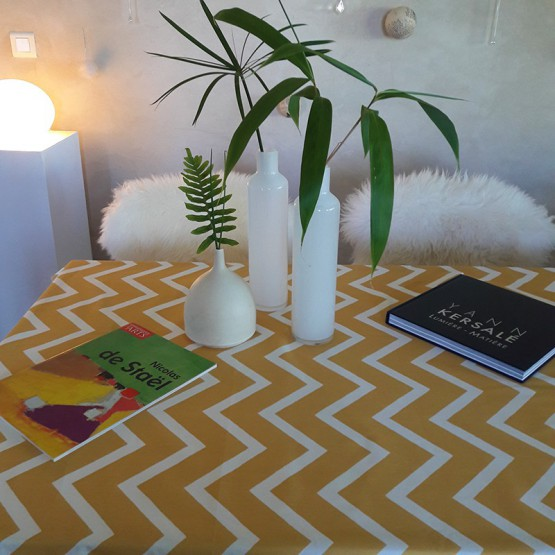 Wipe clean tablecloth Chevron curry