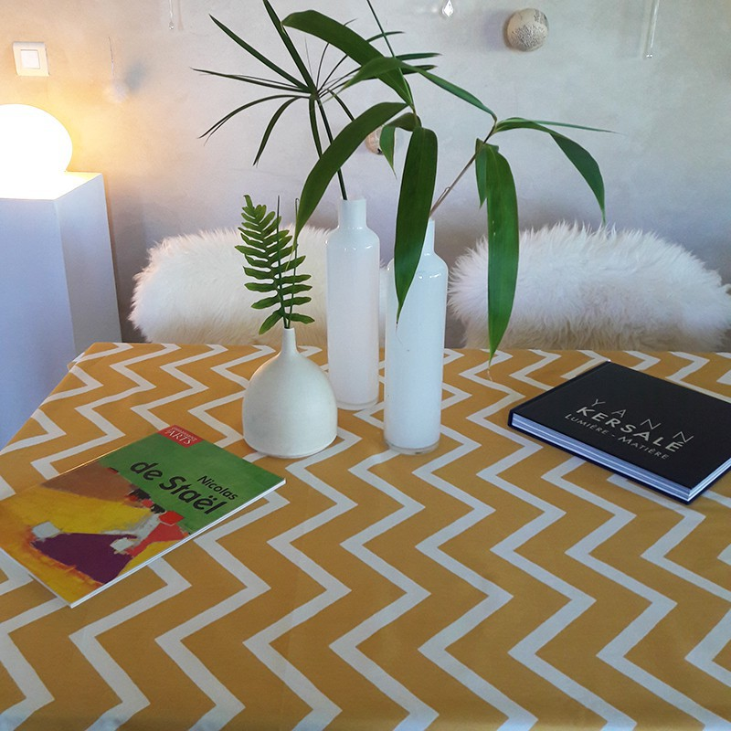 Wipe Clean Tablecloth Chevron Curry Round Or Oval.