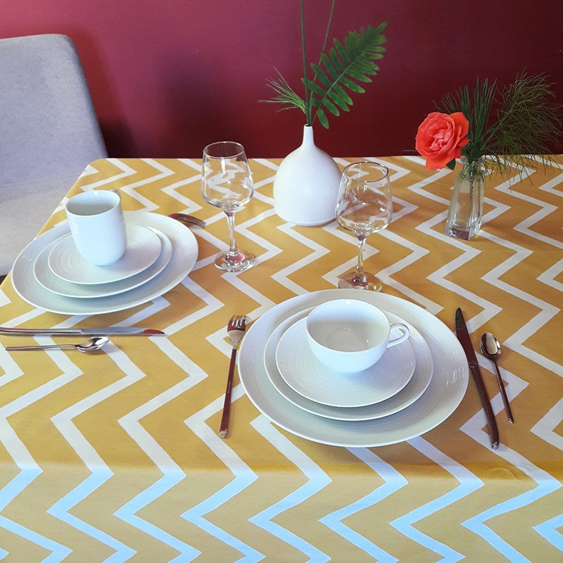 ... Wipe Clean Tablecloth Chevron Curry Round Or Oval
