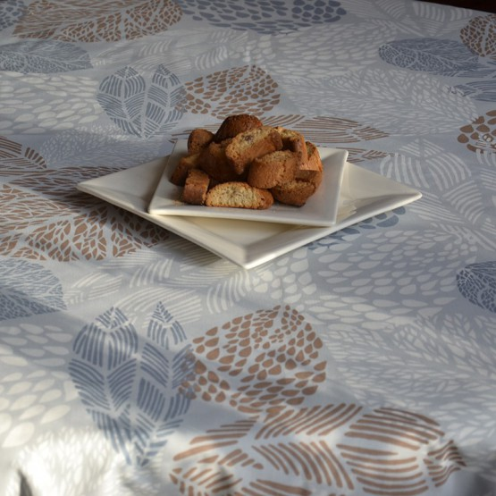 Wipe clean tablecloth Leaves grey/beige