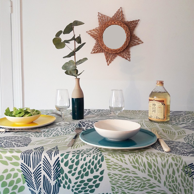 Wipe Clean Tablecloth Leaves Green Round Or Oval.