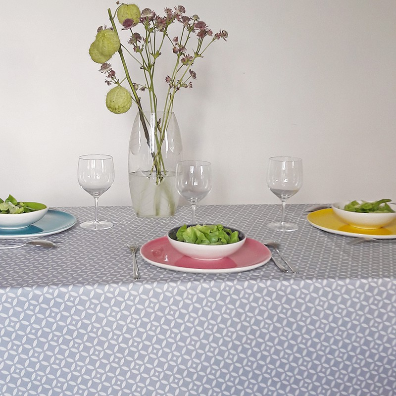 ... Wipe Clean Tablecloth Mosaic Grey Round Or Oval