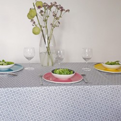 Wipe clean tablecloth Mosaic grey/white