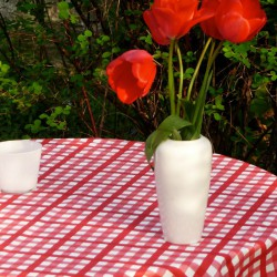 Wipe clean tablecloth Gingham red round or oval