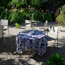 Wipe clean tablecloth Hydrangea blue