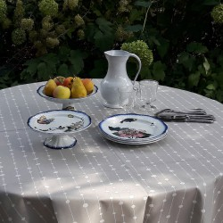 Wipe clean tablecloth Pearls grey round or oval