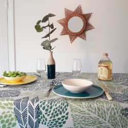 Cotton tablecloth Leaves green