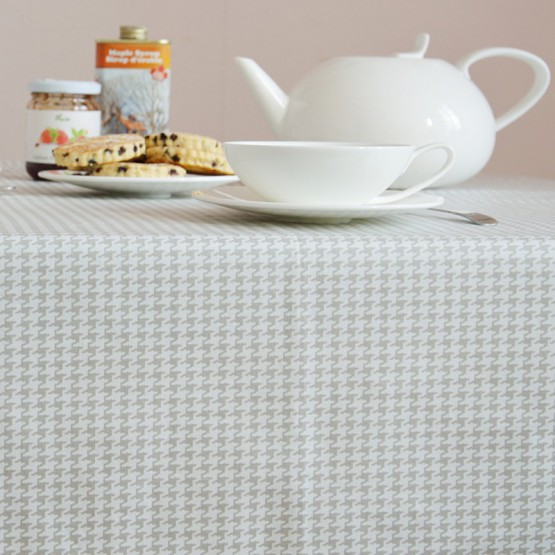 Cotton tablecloth Hound's-tooth cloth grey
