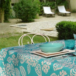 Wipe clean tablecloth Hydrangea turquoise round or oval