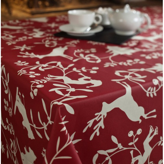 WIPEABLE TABLECLOTH MOUNTAIN RED Fleur de Soleil