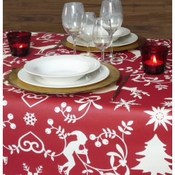Wipe clean tablecloth Mountain red