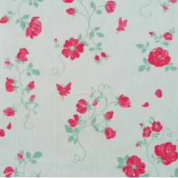 Cotton fabric Rose green/red