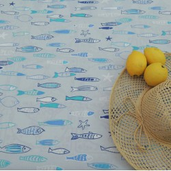 Cotton fabric Fish blue