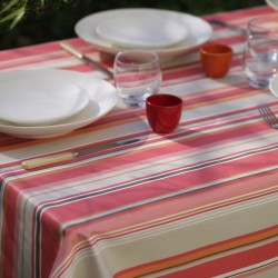 Wipe clean tablecloth Stripes coral round or oval