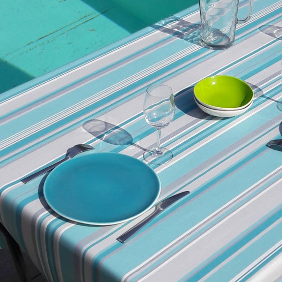 Wipe clean tablecloth Stripes turquoise