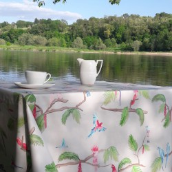 Wipe clean tablecloth exotic birds