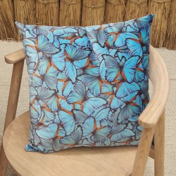 Coussin velours papillons turquoise