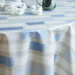 Wipe clean tablecloth Striped patch Blue