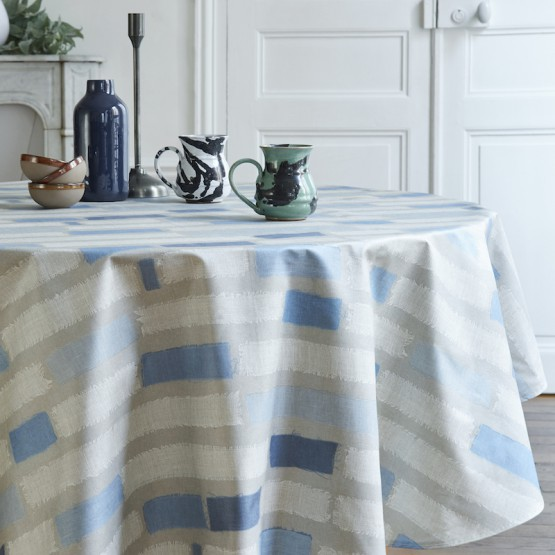 Wipeable Tablecloth Patchwork Blue Round Oval