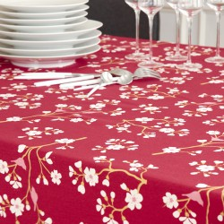 Wipe clean tablecloth Japanese Cherry Burgundy round or oval