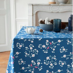 Wipe clean tablecloth peacock blue