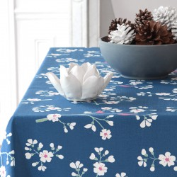 Wipe clean tablecloth Japanese Cherry Petrol Blue round or oval