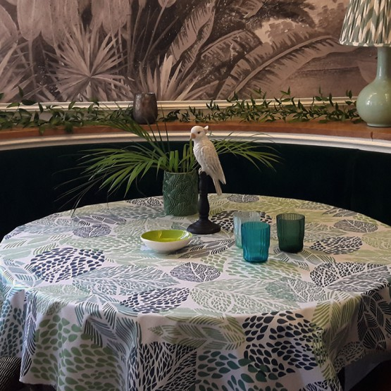 Wipe clean tablecloth Leaves green round or oval