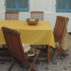 Wipe clean tablecloth Plain curry yellow round or oval