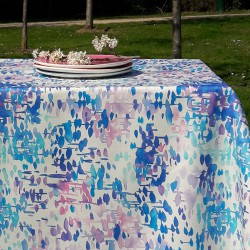 Wipe clean tablecloth turquoise reflection round or oval