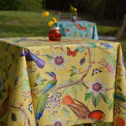 Wipe clean tablecloth yellow birds