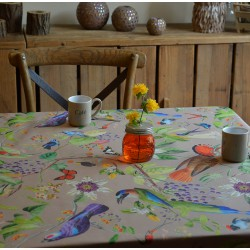 Wipe clean tablecloth beige birds round or oval
