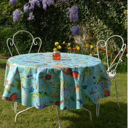 Wipe clean tablecloth turquoise birds round or oval