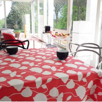 Wipe clean tablecloth coral poppy