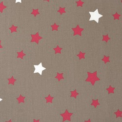 Cotton fabric Stars taupe/red