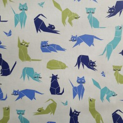 Cotton fabric Cats blue