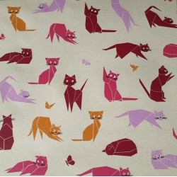Cotton fabric Cats pink
