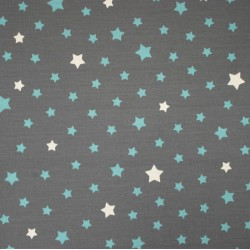 Cotton fabric Stars Grey Turquoise
