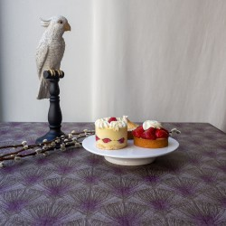 Cotton tablecloth Feathers taupe