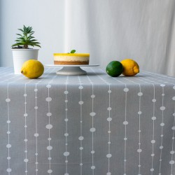 Wipe clean tablecloth Pearls grey