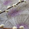 WIPEABLE TABLECLOTH FEATHERS TAUPE PURPLE FLEUR DE SOLEIL