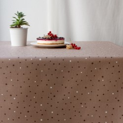 WIPE CLEAN TABLECLOTH STARS TAUPE/TAUPE Fleur de Soleil