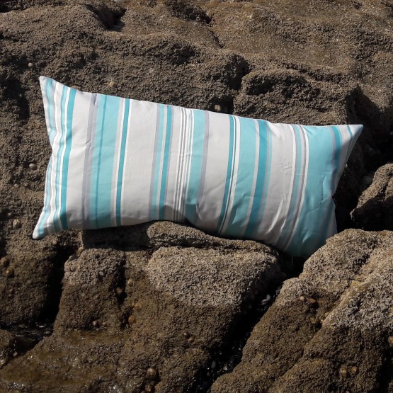 Coussin Rayure Turquoise Gris