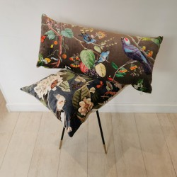 Natural Birds velvet cushion