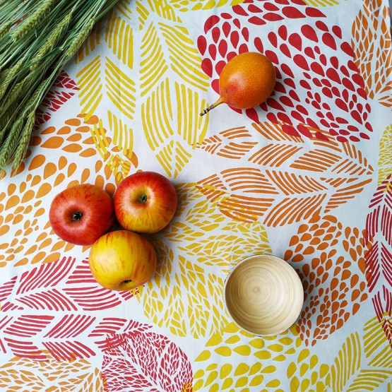 Nappe enduite Feuilles Prune Orange