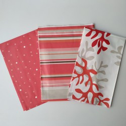 Coupons Confettis Corail / Rayure Corail / Corail rouge