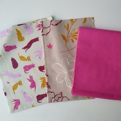 Coupons Chats rose / Camélia orange / Fuschsia unie