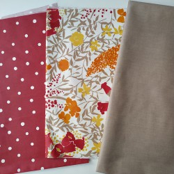 Fabric Piece Red Confettis / Red Mimosa / Plain Brown