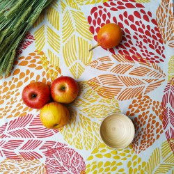 Wipe clean tablecloth Leaves orange round or oval