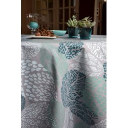 Table runner Leaves turquoise/grey
