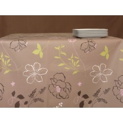 Table runner Camellia taupe/pink